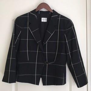 Armani Collezioni Black & White Windowpane Blazer